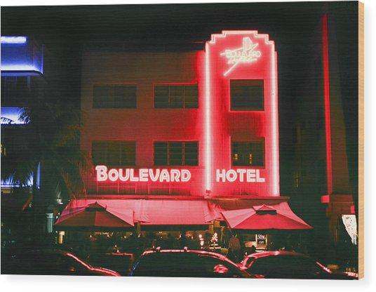 Boulevard Hotel Wood Print