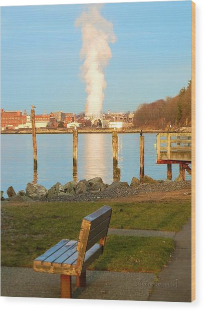 Boulevard's Golden Pillar Wood Print