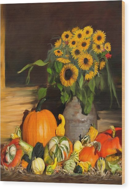 Bountiful Harvest - Floral Painting Wood Print