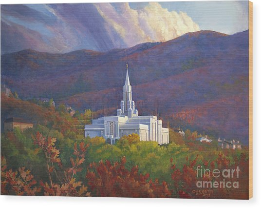 Bountiful Temple In The Mountains Wood Print