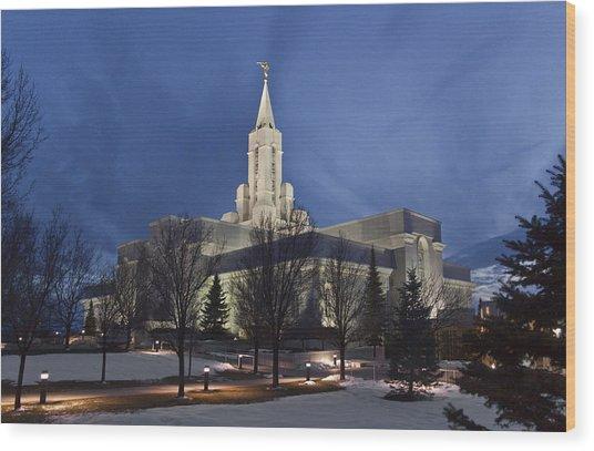 Bountiful Utah Temple In Winter Wood Print