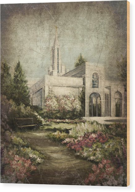 Bountiful Utah Temple-pathway To Heaven Antique Wood Print