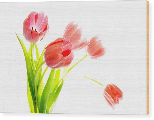 Tulips Flower Bouque In Digital Watercolor Wood Print