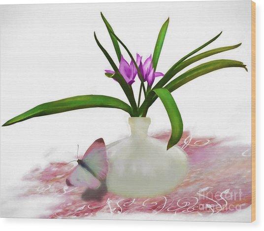 Bouque In Digital Watercolor Wood Print