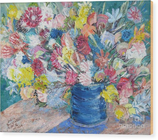 Bouquet 1 - Sold Wood Print by Judith Espinoza