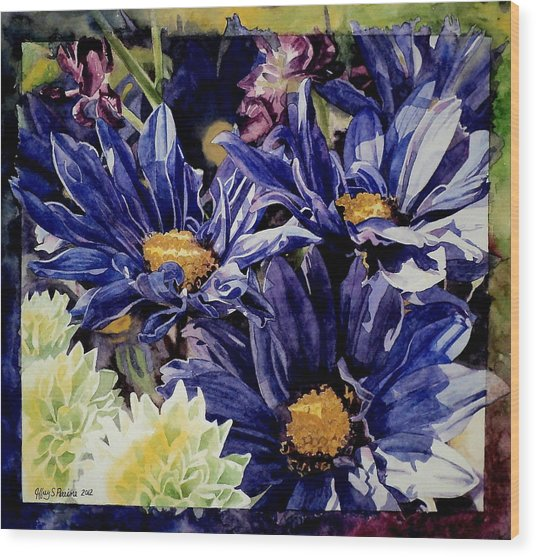 Bouquet Blues Wood Print