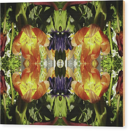 Bouquet Of Tulips Wood Print by Silvia Otte