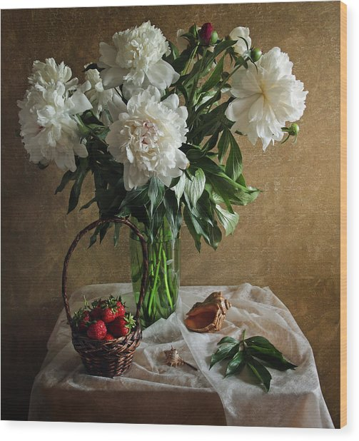 Bouquet Peonies Flowers Wood Print