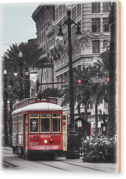 Bourbon And Canal Trolley Cropped Wood Print