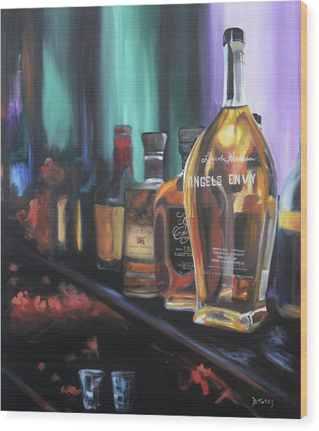 Bourbon Bar Oil Painting Wood Print