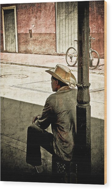 Bourbon Cowboy In New Orleans Wood Print by Ray Devlin