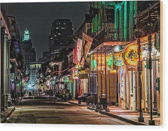 Bourbon Street Glow Wood Print