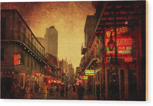 Bourbon Street Grunge Wood Print