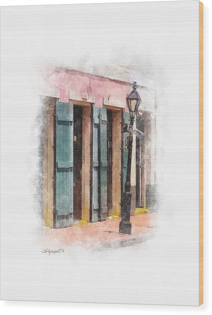 Bourbon Street Lamp Post Wood Print