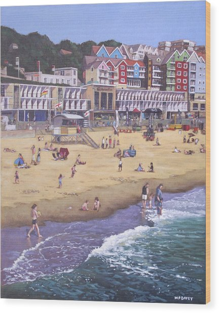 Bournemouth Boscombe Beach Sea Front Wood Print