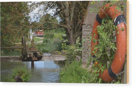 Bouy By Canal Wood Print