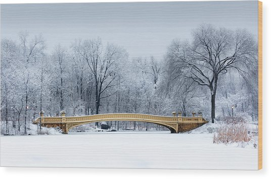 Bow Bridge In Central Park Nyc Wood Print