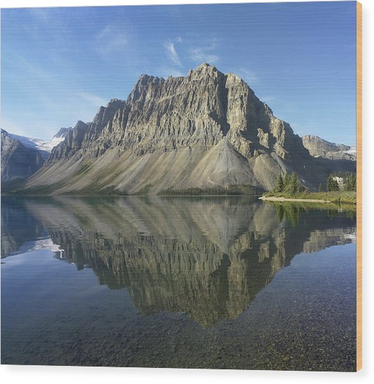 Bow Lake And Crowfoot Mts Banff Wood Print