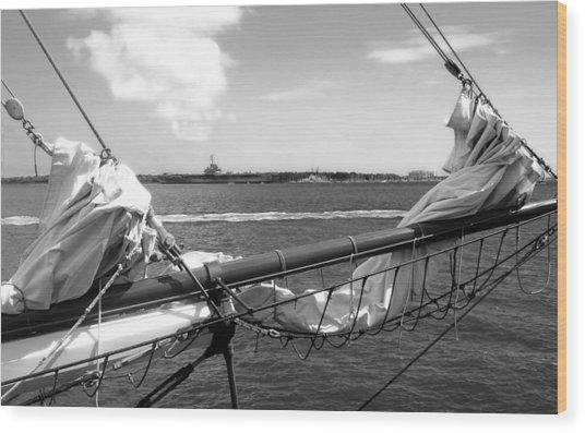 Bow Of A Sailboat Wood Print