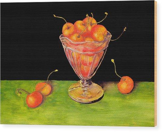 Bowl Of Cherries Wood Print