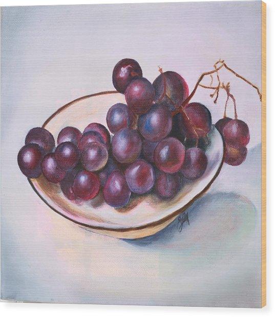 Bowl Of Grapes Wood Print
