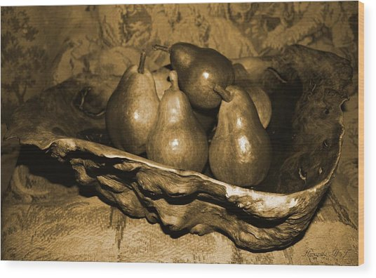 Bowl Of Pears - Sepia Wood Print