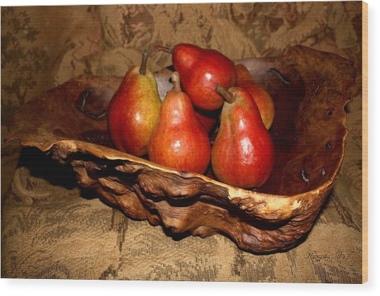 Bowl Of Pears - Still Life Wood Print