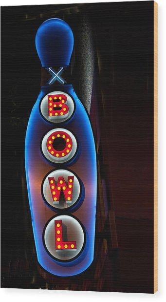 Bowling Pin Sign Wood Print