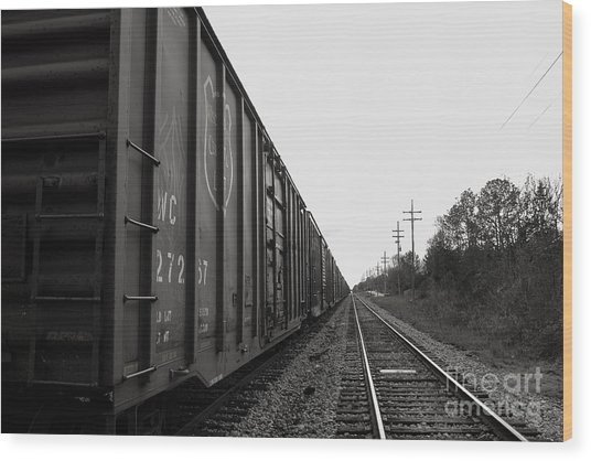 Box Cars And Tracks Wood Print by Russell Christie