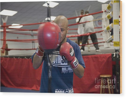 Boxer At Olympic Training Facility Wood Print