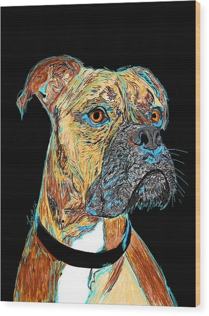 Boxer - Bud Wood Print by Bert Hornbeck