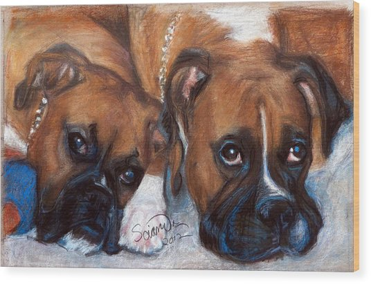Boxer Buddies Wood Print
