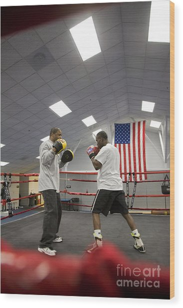 Boxers At Olympic Education Center Wood Print