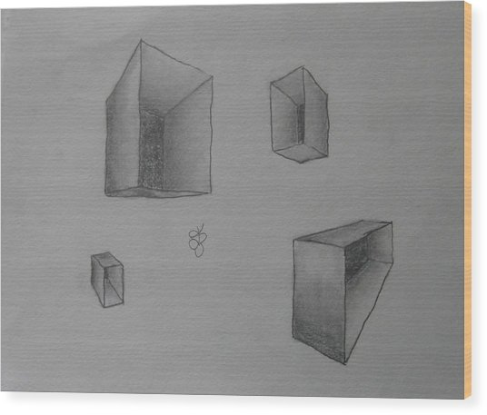 Wood Print featuring the drawing Boxes by AJ Brown