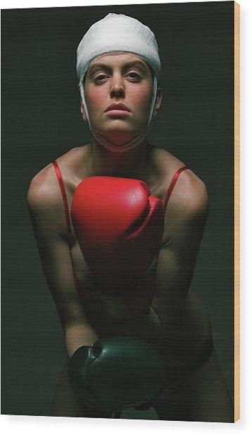 boxing Girl 2 Wood Print