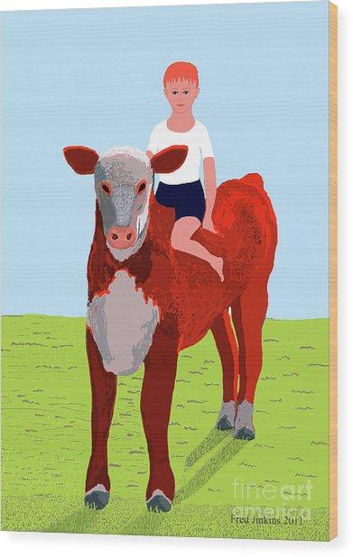 Boy And Calf Wood Print