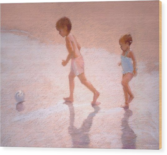 Boy And Girl W/ball Wood Print