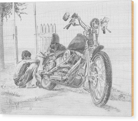 Boy And Motorcycle Wood Print