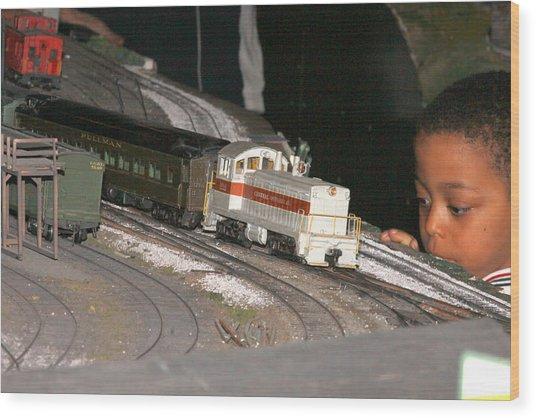 Boy And Train Wood Print by Hugh McClean