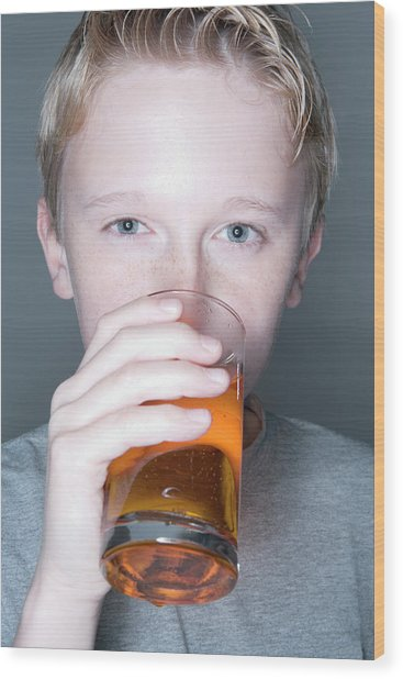 Boy Drinking A Fizzy Drink Wood Print