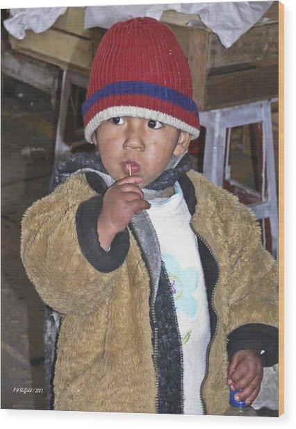 Boy Eating Quail Egg - Cusco Peru Wood Print