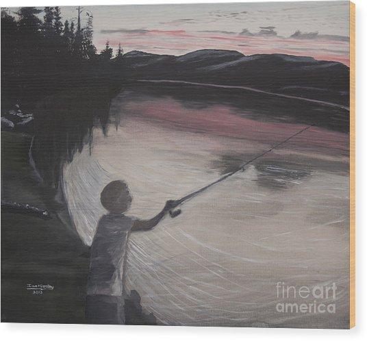 Boy Fishing And Sunset Wood Print