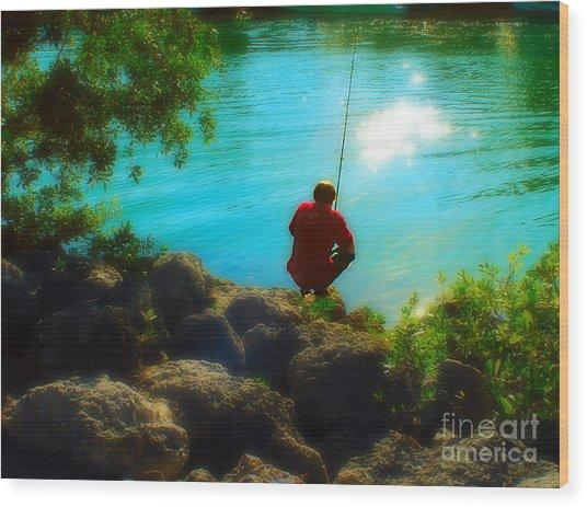 Boy Fishing Wood Print by Andres LaBrada