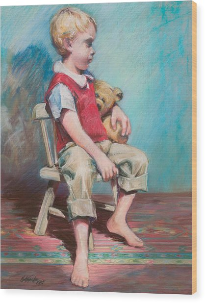 Boy In Chair Wood Print by Beverly Amundson