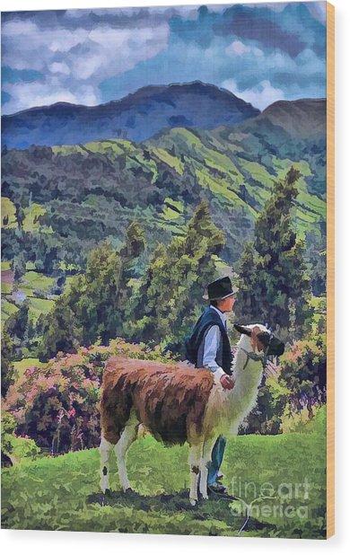 Boy With Llama  Wood Print