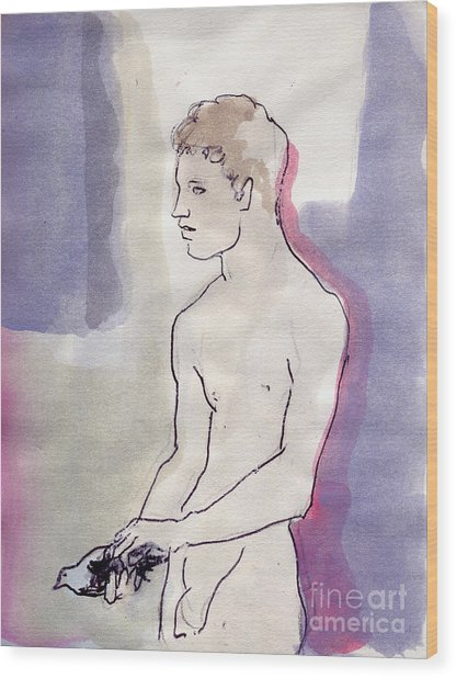 Boy With Pigeon Wood Print by Line Arion
