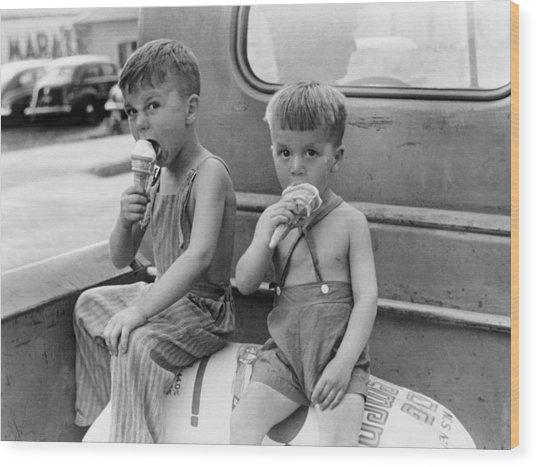 Boys Eating Ice Cream Cones Wood Print