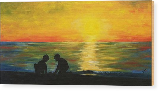 Boys In The Sunset Wood Print