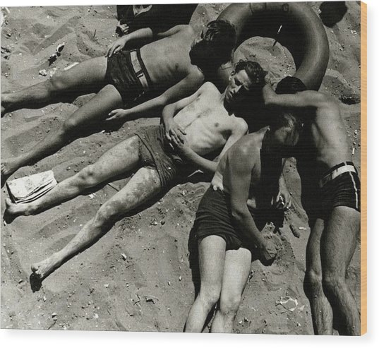 Boys Lying On The Beach At Coney Island In New Wood Print