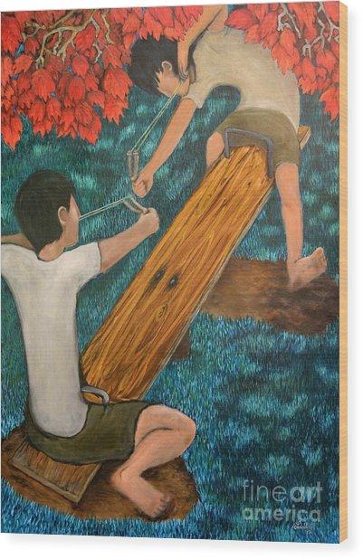 Boys Play Wood Print